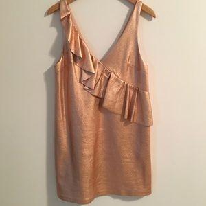 ZARA Shiny Rose Gold Mini Dress w Ruffle